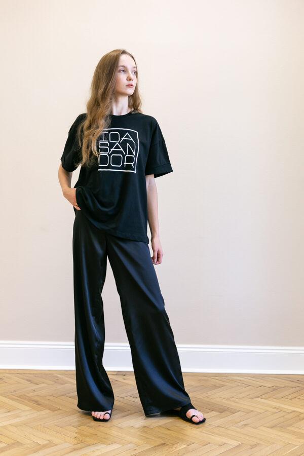 Čierne široké nohavice