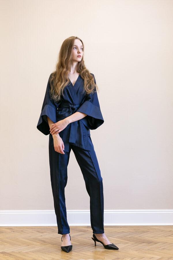Modré úzke nohavice