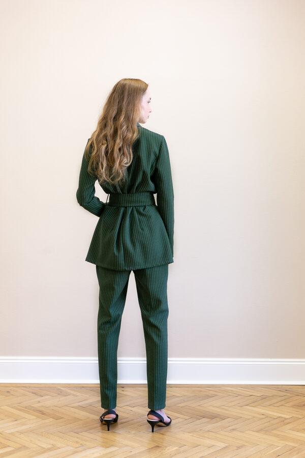 Zelené sako so šálovým golierom