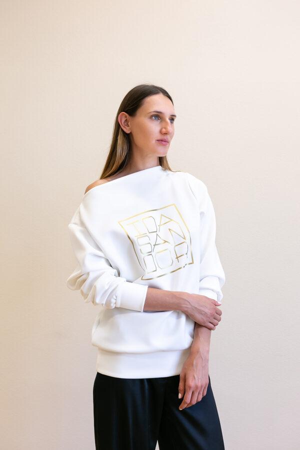 Mikina Lodička biela so zlatým logom 05