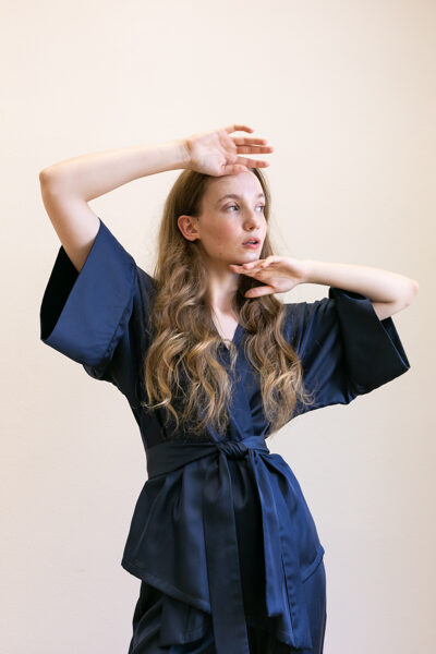 Modré kimono sako
