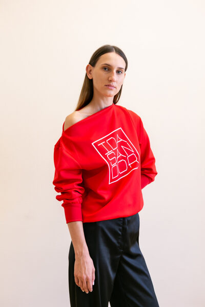 Jumper boatneck red with white logo 06